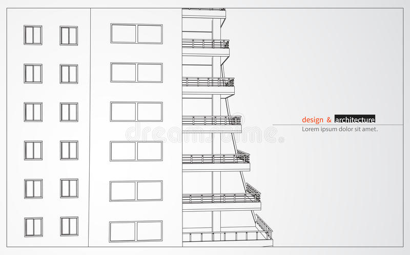 Urbanistic摩天大楼 抽象3D回报大厦导线框架结构 传染媒介建筑图表想法为 皇族释放例证
