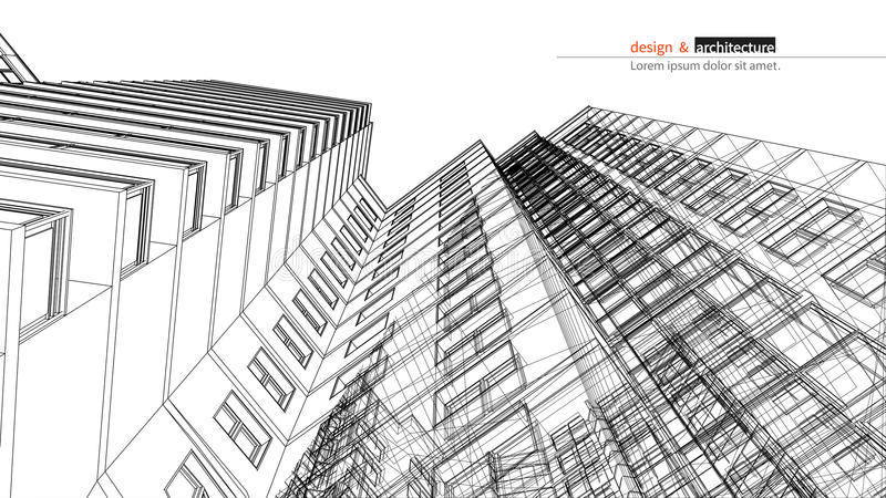 Urbanistic skyscraper. Abstract 3D render of building wire frame structure. construction graphic idea for template stock illustration