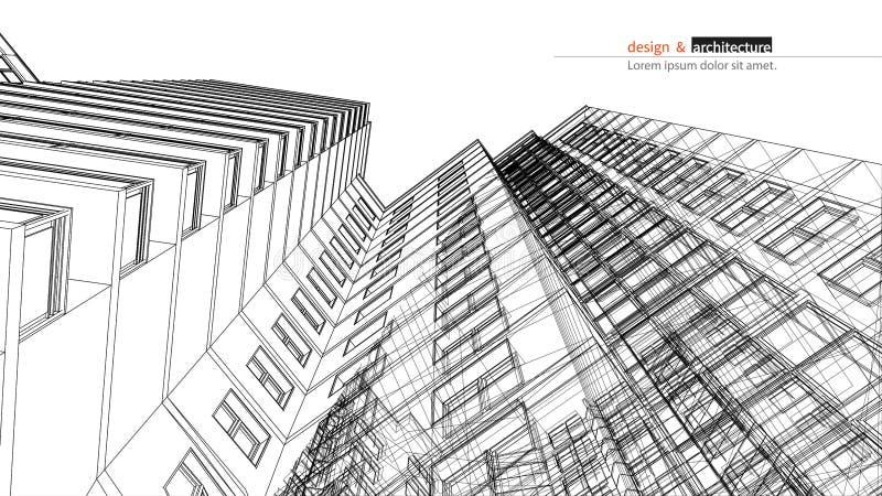 Urbanistic skyskrapa Abstrakta 3D framför av strukturen för byggnadstrådramen grafisk idé för konstruktion för mall stock illustrationer