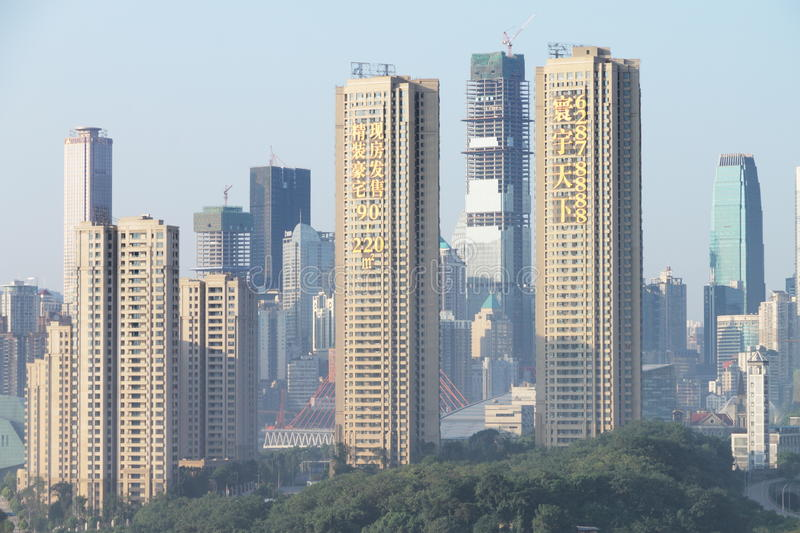 Urbanization. The city is chongqing of china,there are many buildings rising in the center everyday,this is a microcosm of china's urbanization,i made it at 7/3/ stock photography