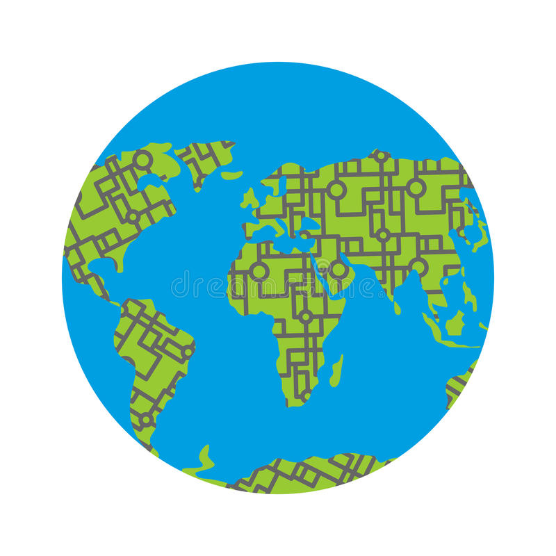 Urbanization earth. Roads have filled in all continents of land vector illustration