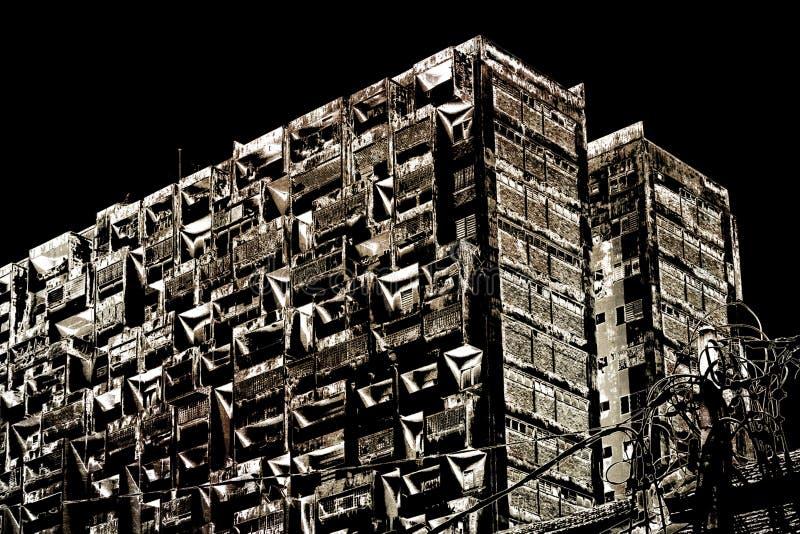Urbanurban appatment rozpadowy stary blok w stonowanym monochromu royalty ilustracja