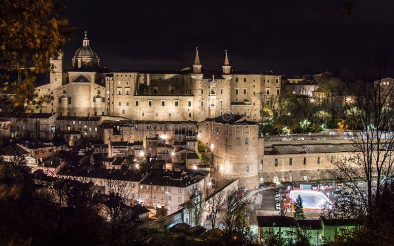 Urbino Itália, opinião da noite fotografia de stock royalty free