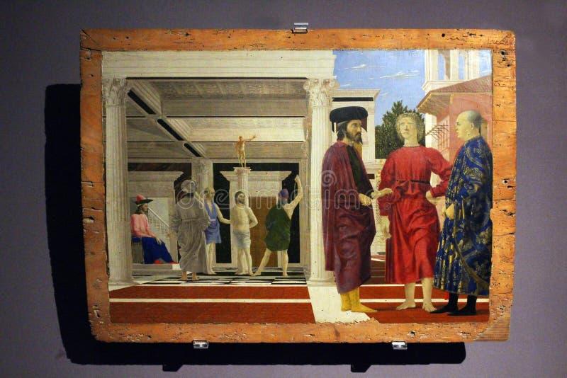 Urbino, Italië, geschilderde ` de flagellatie van Christus `, Piero della Francesca royalty-vrije stock afbeelding
