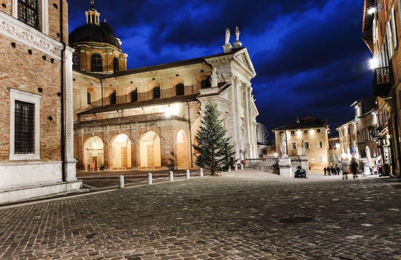Urbino Italië, nachtmening royalty-vrije stock foto