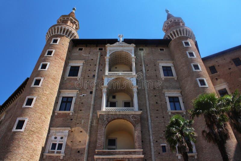 Urbino Italien, hertiglig slott royaltyfria foton
