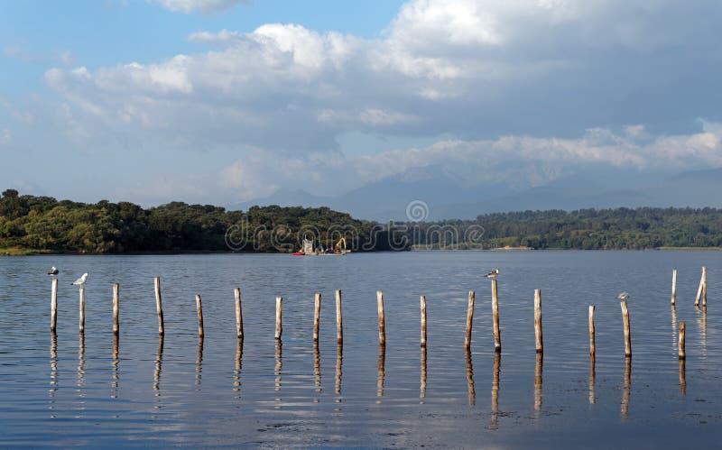 Coastal lake in Corsica. Urbino lake in eastern coast of Corsica royalty free stock photo