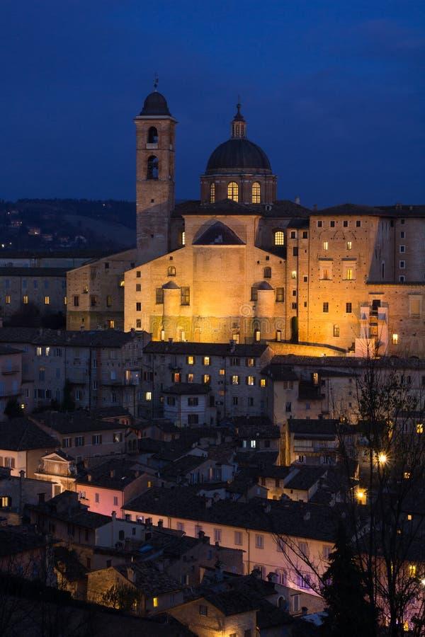 Urbino nocą zdjęcie stock