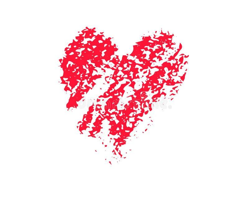 Urblekt röd hjärtavektorillustration på vit bakgrund Clipart för St Valentine Day Isolerad bubbla för kritatexturhjärta vektor illustrationer