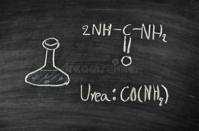 Urea acid on blackboard royalty free stock images