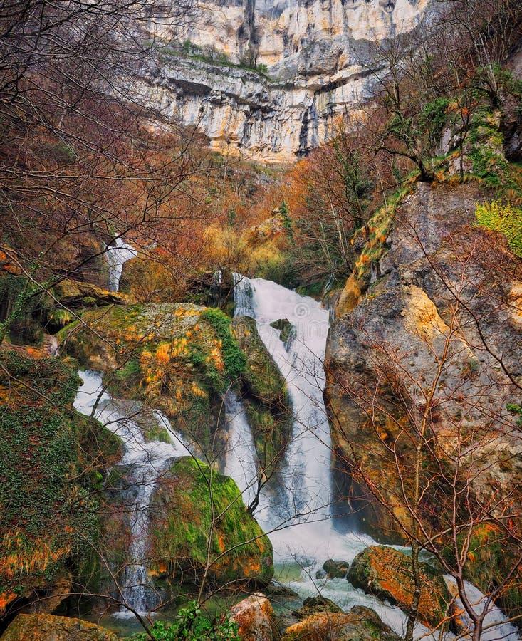 Urederra waterfalls view royalty free stock photo