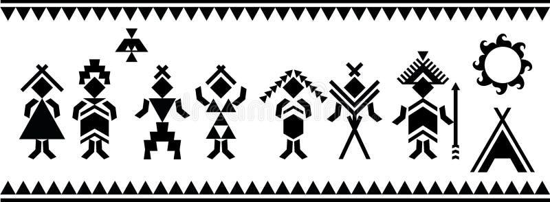 Ureinwohner Schattenbildvektor-Symbole Ethnische Elemente Vektor und Illustration stock abbildung