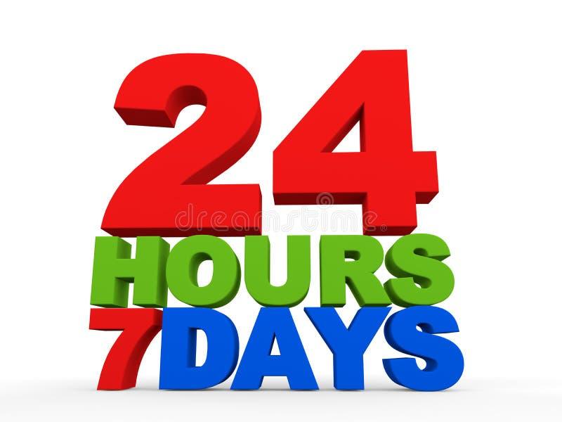 24 uren 7 dagen royalty-vrije illustratie