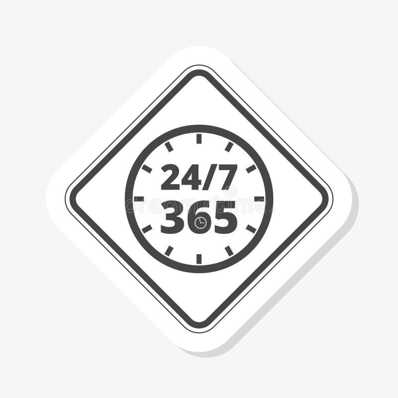 24 7 uren en 365 dagenstickerpictogram Wanneer werkend de dienst of steunsymbool royalty-vrije illustratie