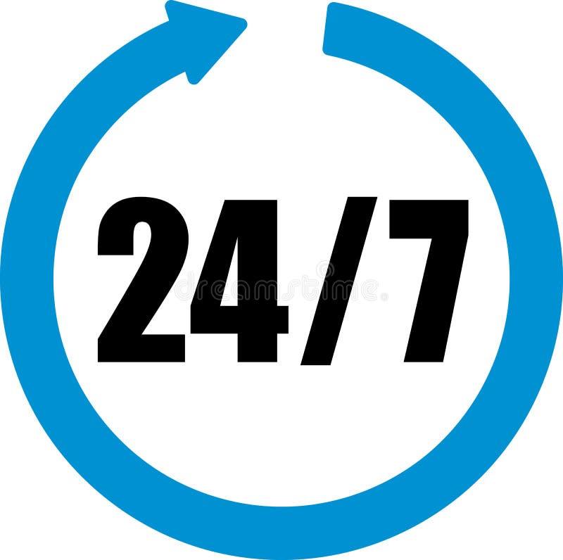 Download 24 Uren Zeven Dagen Per Week Vector Illustratie - Illustratie bestaande uit symbool, open: 114225716