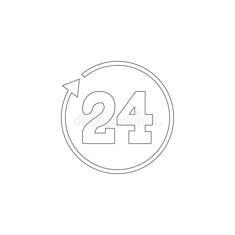 24 urenomwenteling Vlak vectorpictogram royalty-vrije illustratie