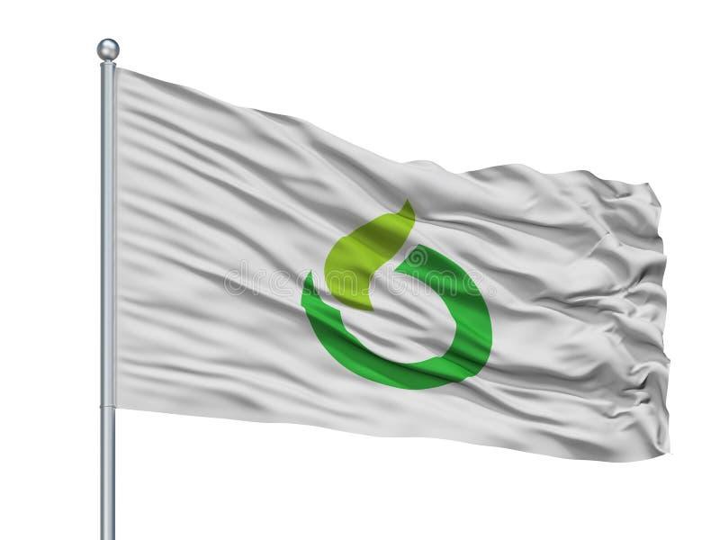 Ureshino-Stadt-Flagge auf Fahnenmast, Japan, Saga-Präfektur, lokalisiert auf weißem Hintergrund lizenzfreie abbildung