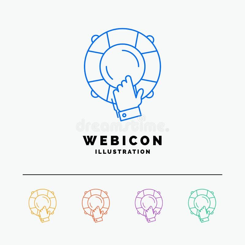urgence, garde, aide, assurance, discrimination raciale de la bouée de sauvetage 5 calibre d'icône de Web d'isolement sur le blan illustration de vecteur