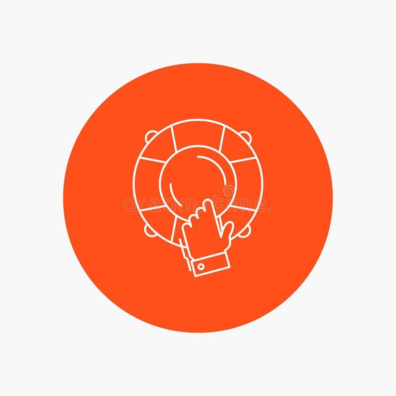 urgence, garde, aide, assurance, ligne blanche icône de bouée de sauvetage à l'arrière-plan de cercle Illustration d'ic?ne de vec illustration de vecteur