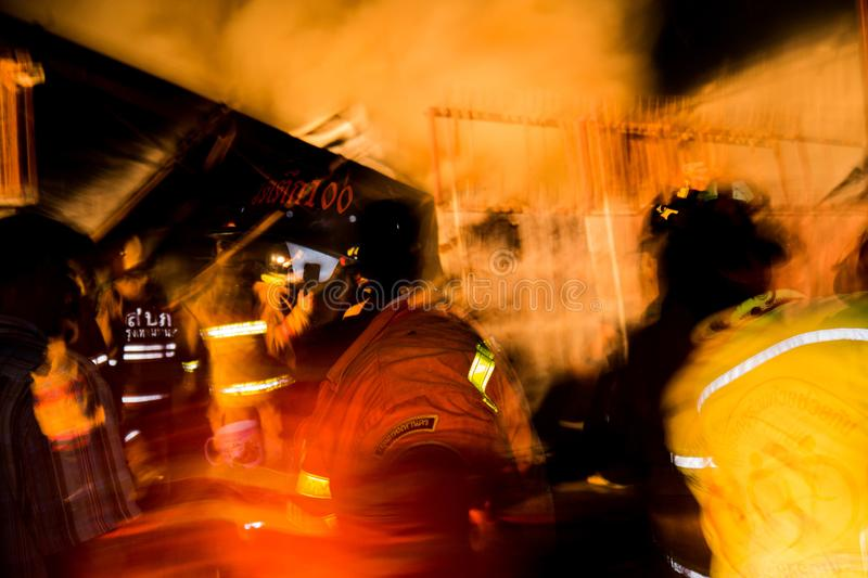 Urgency in a fire event. In Bangkok Thailand stock photos