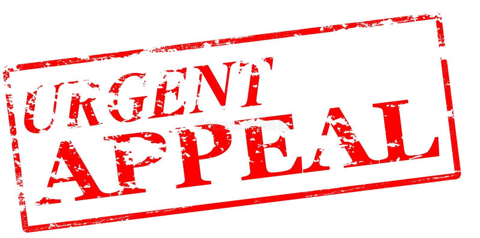 Urgent appeal. Rubber stamp with text urgent appeal inside, illustration royalty free illustration