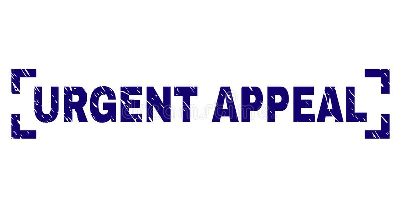 Scratched Textured URGENT APPEAL Stamp Seal Inside Corners. URGENT APPEAL text seal print with grunge style. Text caption is placed between corners. Blue vector stock illustration