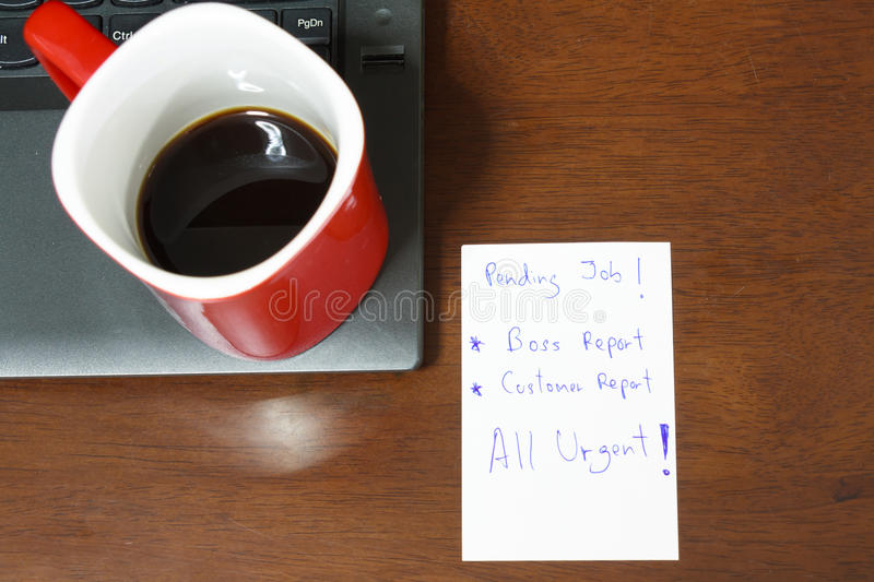Urgent note make Report. From Boss and Customer with Coffeee stock photos