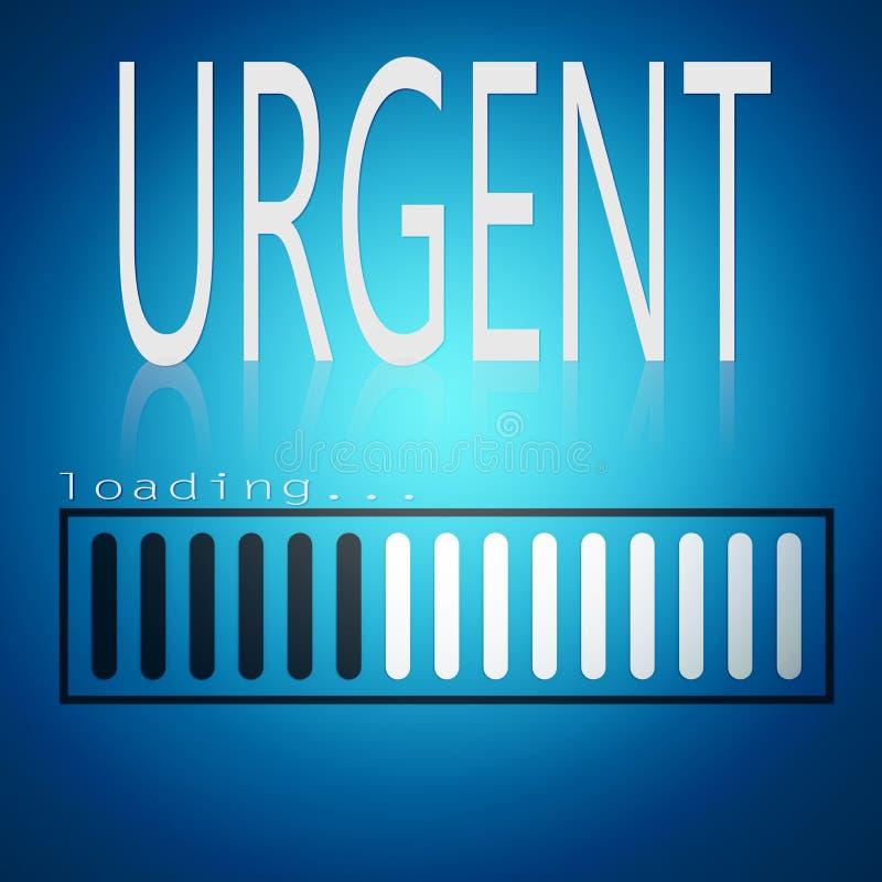 Urgent word with blue loading bar. 3D rendering vector illustration