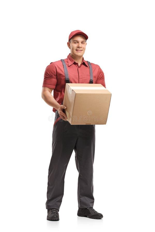 Urheber, der ein Paket hält stockfotos