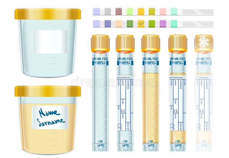 Urinalysis nakrętki Żółte tubki Ustawiać, puste, wypełniający, marznący i dipis ilustracja wektor