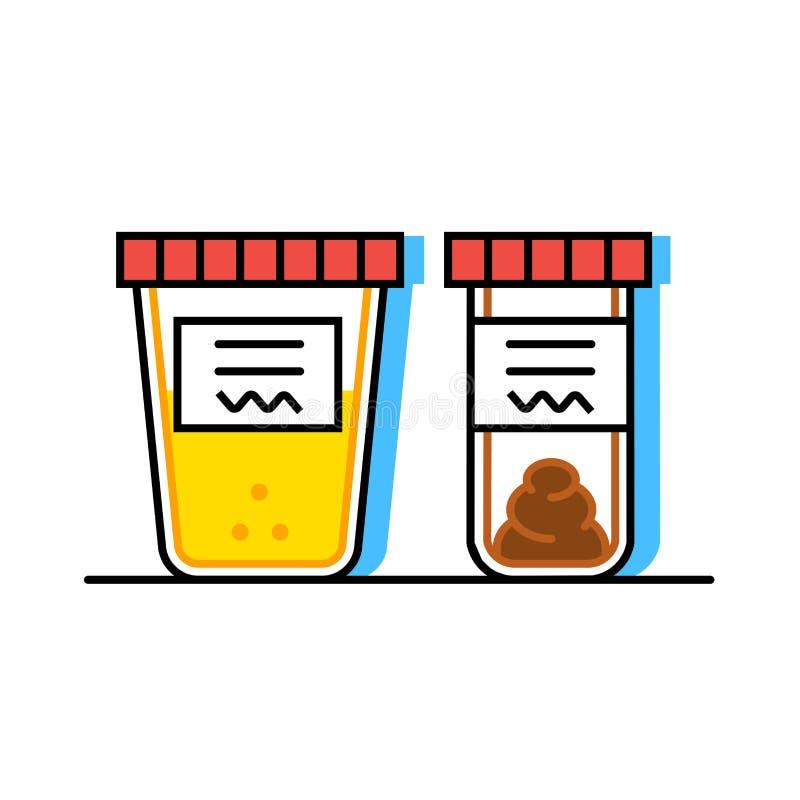Urine en faecale analyse Vlakke stijl Containers voor analyse vector illustratie