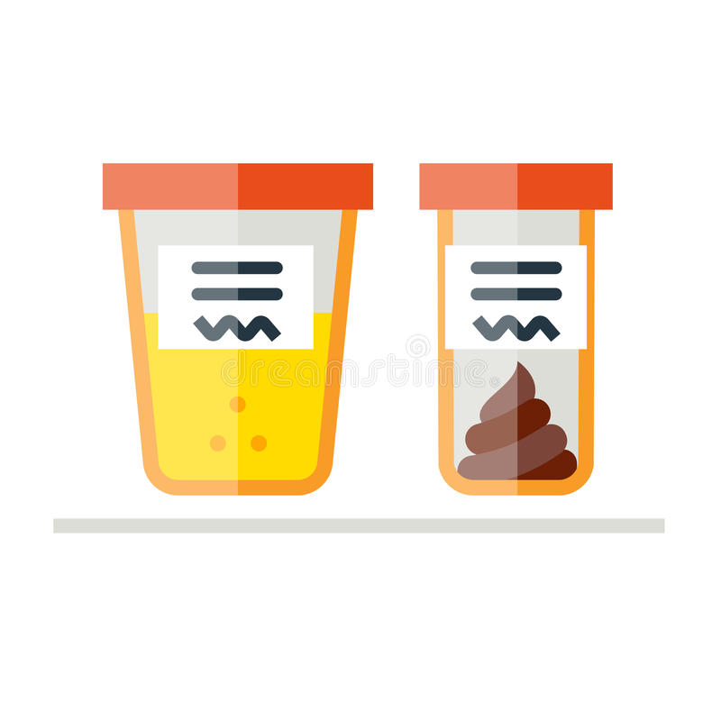 Urine and fecal analysis. Flat style. Containers for analysis on white background. royalty free illustration