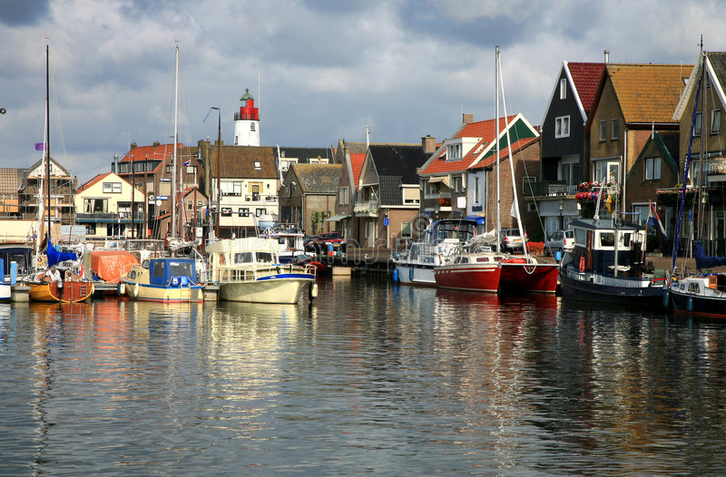 Urk – Flevoland, Netherlands. Boats in port - Urk, the Netherlands. Picturesque, small town in Flevoland royalty free stock photography