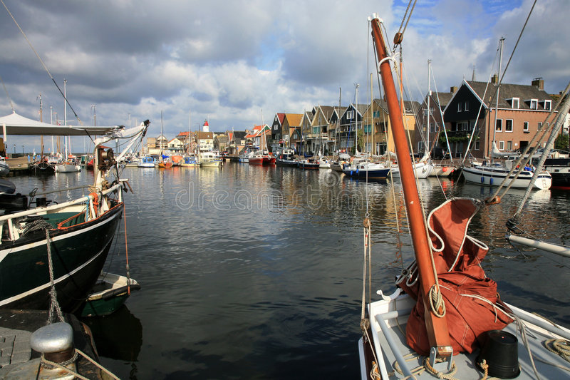 Urk – Flevoland, Netherlands. Boats in port - Urk, the Netherlands. Picturesque, small town in Flevoland royalty free stock images