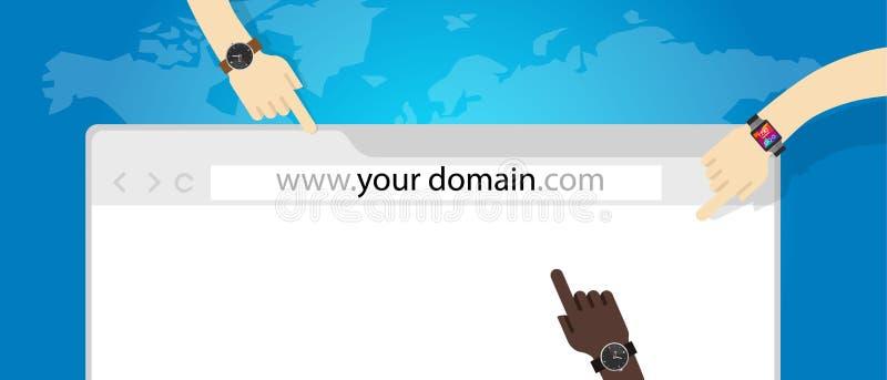 URL di concetto di Internet di affari di web di Domain Name illustrazione di stock