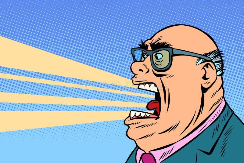 Urla arrabbiate del capo illustrazione di stock
