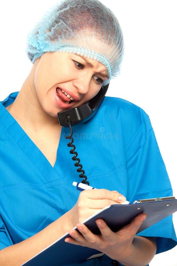 Urla dell'infermiera fotografia stock