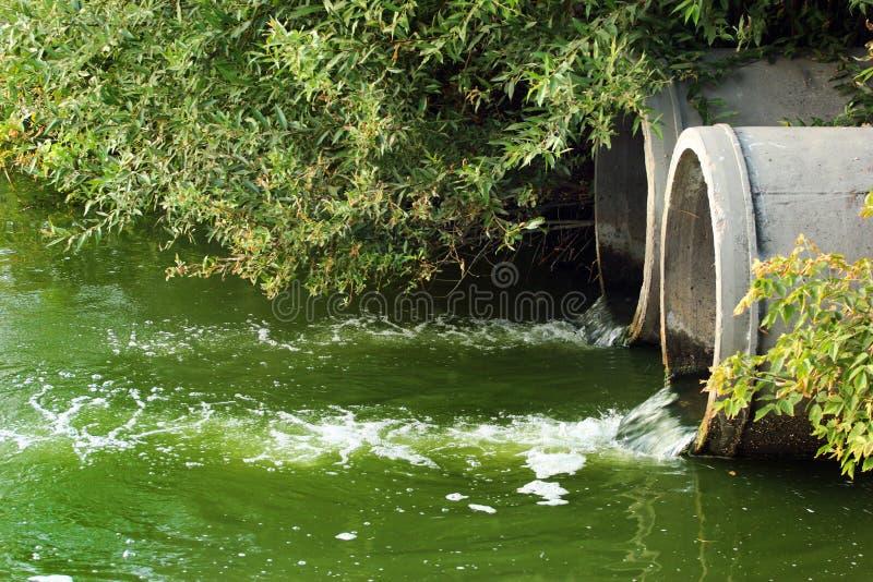 Urladdning av kloak in i en flod arkivbild
