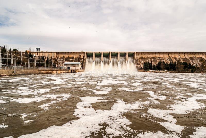 Urladdning av vatten i träsk Orellana Spanien royaltyfri fotografi