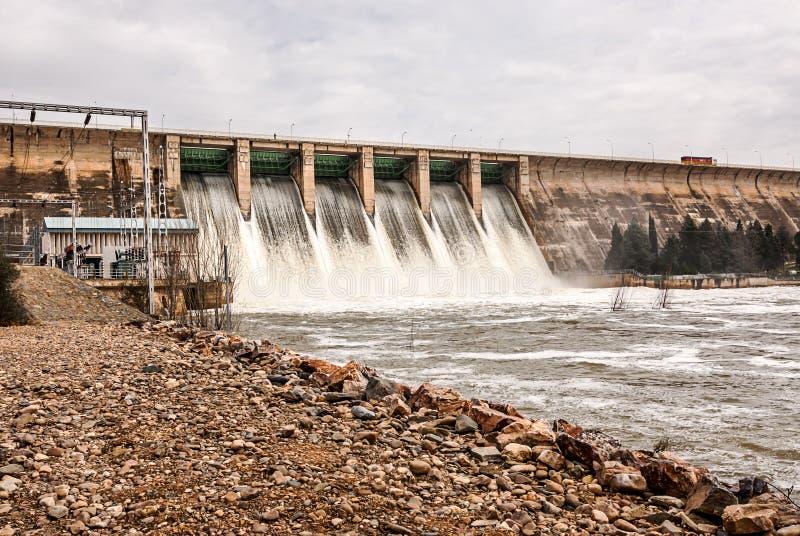Urladdning av vatten i träsk Orellana Spanien royaltyfri bild
