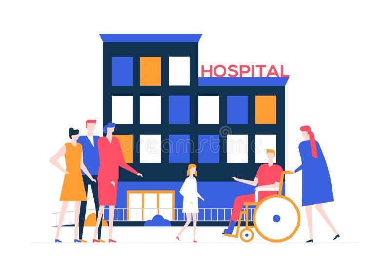 Urladdning från sjukhuset - färgrik plan designstilillustration vektor illustrationer