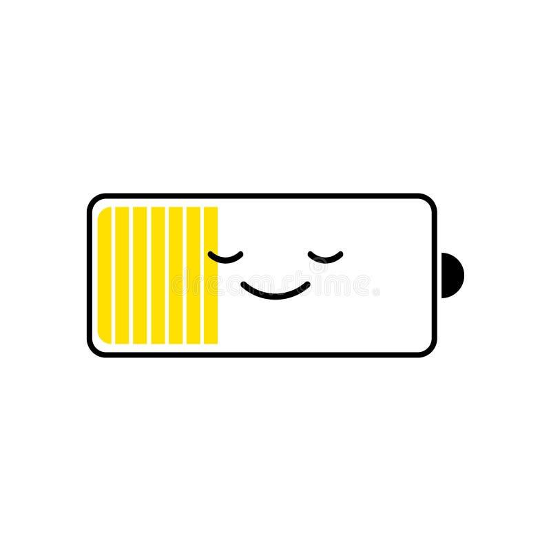 Urladdningsbatterismartphone, jämna indikatorer för laddning Roligt tecken Design för vektortecknad filmlägenhet vektor illustrationer