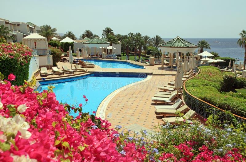 Urlaubshotel mit Pool auf Strand des Roten Meers im Sharm el Sheikh, Egyp stockbilder