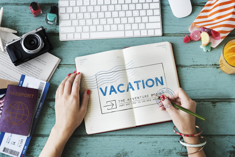 Urlaubsreise-Reise-Wanderlust-Ferien-Konzept stockbild