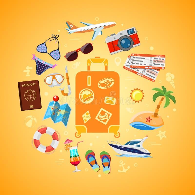 Urlaubsreise-und Sommer-Konzept stock abbildung
