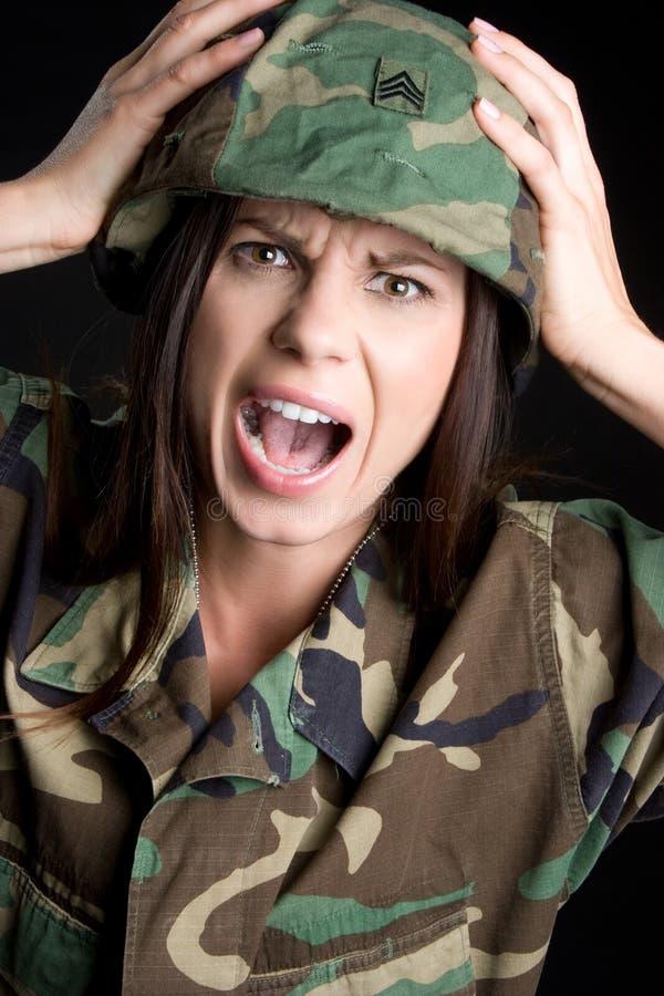 Urlo della donna militare fotografia stock libera da diritti