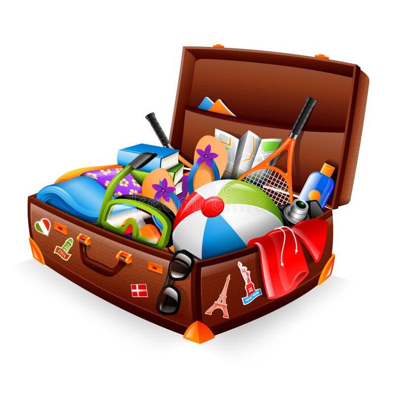 Urlopowa walizka ilustracji