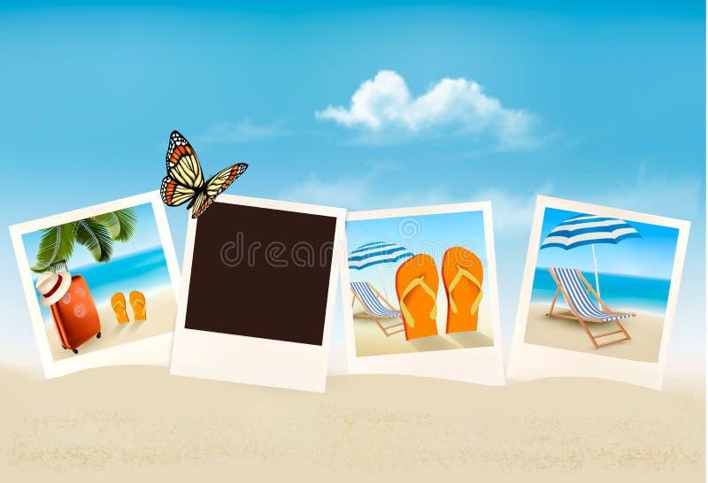 Urlopowe fotografie na plaży ilustracji