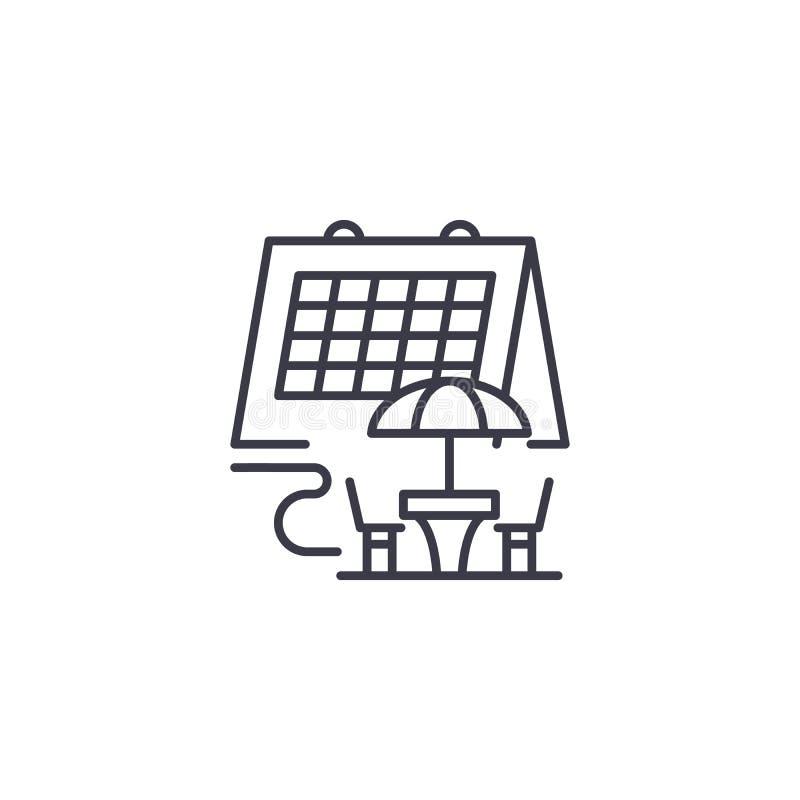 Urlopowego rozkładu ikony liniowy pojęcie Urlopowy rozkład linii wektoru znak, symbol, ilustracja royalty ilustracja