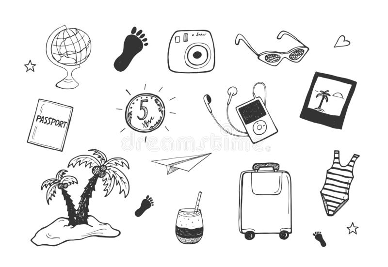 Urlopowi podróżowanie wycieczki przedmioty ilustracja wektor